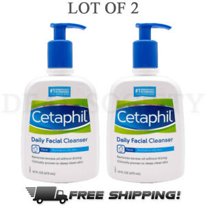 Cetaphil Daily Facial Cleanser for Normal to Oily Skin Types 16 oz Each Lot of 2