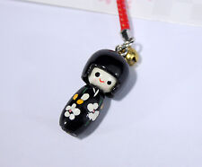 Phone strap - KOKESHI Noire en bois - Import direct Japon