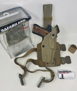 """Safariland® 6304 ALS®/SLS Drop-Rig STX FDE Tactical RH Holster, 1911 5"""" NO RAIL"""