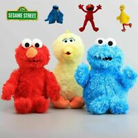 3X Sesame Street Elmo Cookie Monster Big Bird Soft Furry Plush Stuffed Toy Doll