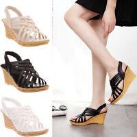 Lady Women Platform Wedge Sandals Slipper Caged Peep Toe High Summer Shoes Size