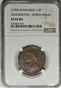(1795) George Washington North Wales 1/2P NGC XF 45 ~ Colonial Halfpenny Coin