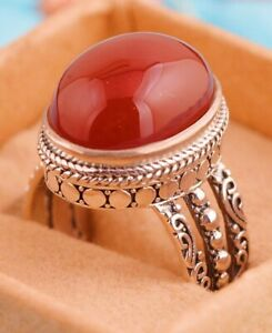 Beautiful Solid Sterling Silver Egg Facet Red Agate Ring, Size R 7g
