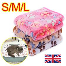 More details for pet mat paw prints cat dog puppy fleece soft warm blanket bed cushion mattress