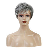 "6"" Gray Short Wig for Women Real Human Hair Pixie Cut Chic Wig w/ Side Bangs"