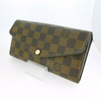 LOUIS VUITTON LV N63209 Damier Ebene Brown Portefeuille Sarah Long Wallet Used
