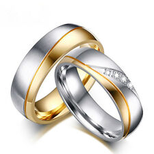 1X Women Men Couple Stainless Steel Band Ring 18K Gold Plated CZ Rings Size 7-11