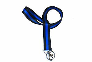Lot Police Thin Blue Line Neck Lanyard Split Ring Keychain (Black/Blue color)