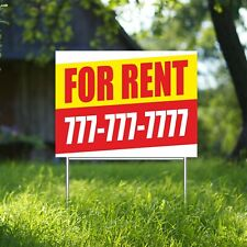 For Rent Yard Sign Corrugate Plastic With H Stakes Custom Phone Free Rental Sale