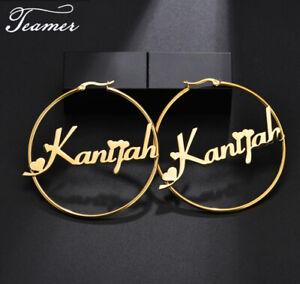 Stainless Steel Custom Name Round Earrings Personalized Women Earrings