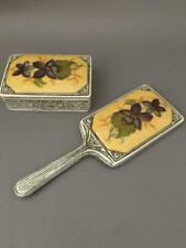 Vintage Florenza Enamel Purple Flowers Pill Ring Box & Hand Vanity Purse Mirror