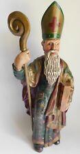 """Vintage Leo Smith Bishop/Pope Hand Carved Folk Art Figurine Signed Rare! 14"""""""