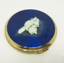 Stratton 1950's Persian Cat & Kitten Blue Enamel Convertible Compact