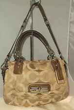 Coach Kristen Op Art Signature Khaki Jacquard & Leather Bag + Dustbag 16779