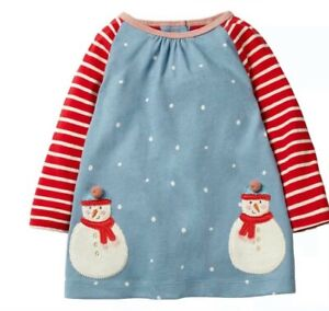 Ex Baby Boden  Baby Girl Spotty Snowman Christmas Xmas Tunic Dress 3/6 Months