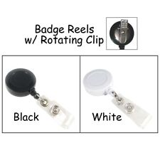 5 Id Badge Reels Lanyard w/ Rotating Clip & Plastic Strap - Pick Color