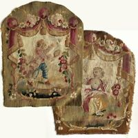 PAIR: Antique Aubusson or Gobelin Wool & Silk Woven Chair Back Panels for Pillow