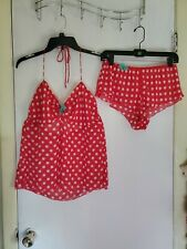 Victoria's Secret 2-Piece: Teddy, Babydoll, Lingerie Red White Polka Dots, Large