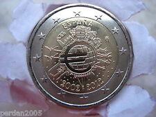 SPAGNA 2012 2 EURO FDC UNC 10° anniv. EURO - TYE SPAIN SPANIEN