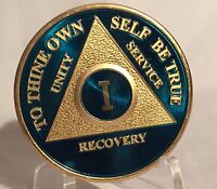1 Year Blue Gold Plated AA Chip Alcoholics Anonymous Medallion Coin Sobriety One