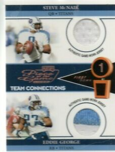 2002 Piece of the Game 1st Down Steve McNair Eddie George Jersey Patch Titans