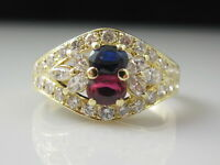 Ruby Ring Blue Sapphire Diamond Estate 18K Yellow Gold Marquise Cocktail Cluster