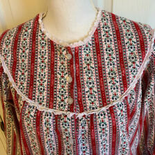 Lanz of Salzburg Flannel Nightgown Floral Lace Red Pink White Blue Size Medium