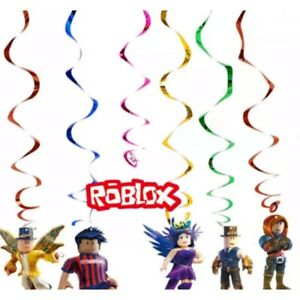 Roblox themed Happy birthday Swirl Hanging Decorations Set Of 6. Party Supplies