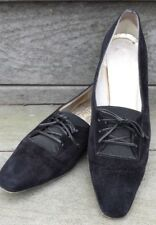 Ferragamo Black Suede Lace Up Flats 9.5 AAA Extra Narrow Comfort Slip On Italy