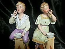 RARE PAIR OF ANTIQUE GEBRUDER HEUBACH BISQUE FIGURES / DOLLS ' BLOWING BUBBLES '