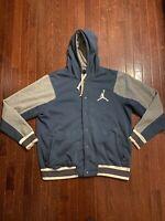 Mens Jordan Button Up Varsity Jacket Hoodie 2.0 Size XXL Blue/Gray