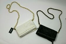 Set of TWO BEBE White Black Purse Studded Chain Crossbody NWT Clutch Gold