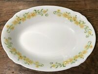 "NIKKO #34 JONQUIL OVAL 9.5"" VINTAGE VEGETABLE SERVING BOWL YELLOW FLOWERS VGUC"