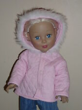 "Pink Quilted Winter Coat for 18"" Doll Clothes American Girl"