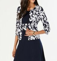 Jessica Howard Womens Jackets Blue Size 4P Petite Shoulder-Pads Jersey $49- 216