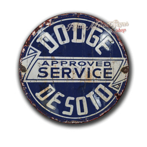 DODGE SERVICE VINTAGE round circular  shaped metal tin sign