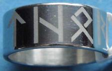 Acero inoxidable runas anillo Thor