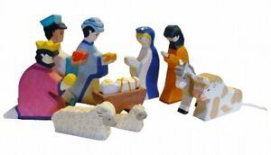 HOLZTIGER Krippenfiguren Set 10-teilig Krippe Weihnachten