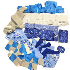 Quilt Top Block Fabric Unfinished Mixed Lot 100% cotton Metallic Blue Gray Strip