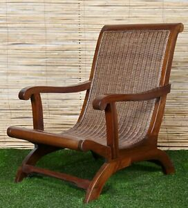 British Colonial Style Lazy Plantation Chair with Rattan Seat