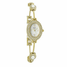Badgley Mischka Ladies Mother of Pearl Crystal Gold Tone SS Watch BA-1360MPGB