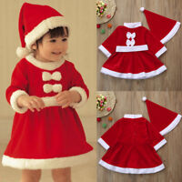 Toddler Kid Baby Girls Christmas Party Clothes Costume Bowknot Dress+Hat Outfit