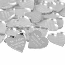 100 Pieces Personalized Engraved Baby Baptism Hangs Love Heart Wedding Table New