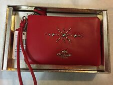 Coach 56530B Western Rivets Small Wristlet Leather Red NWT