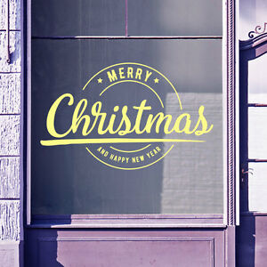 Merry Christmas Xmas Happy New Year Shop Display Window Wall Decal Stickers A415
