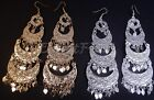 Egyptian Tribal Belly Dance Earrings Dancing Long Dangle Gypsy Jewelry 5.1""