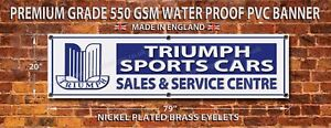 "TRIUMPH SPORTS CARS WATERPROOF 550GSM GRADE PVC GARAGE BANNER. 79""L X 20""H."