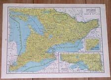1950 ORIGINAL VINTAGE MAP OF ONTARIO TORONTO / VERSO QUEBEC MONTREAL CANADA