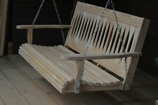 5ft Cypress Diamond Porch Swing finished, cup holders & springs. All hardware