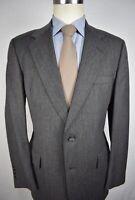 Hart Schaffner Marx Gray Herringbone Wool Two Button Two Piece Suit Size: 40R
